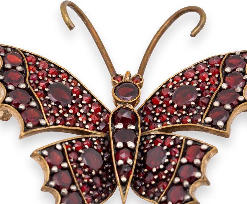 Bohemian Garnet Butterfly Brooch