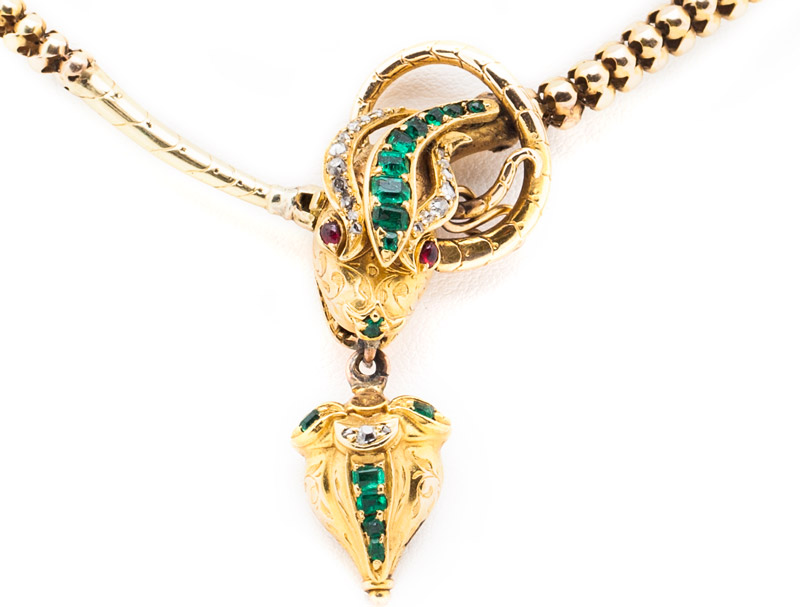 Emerald and Diamond Snake Necklace
