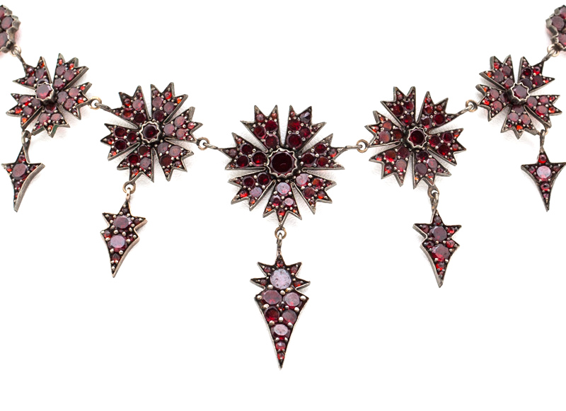 Bohemian Garnet Cupid's Dart Necklace