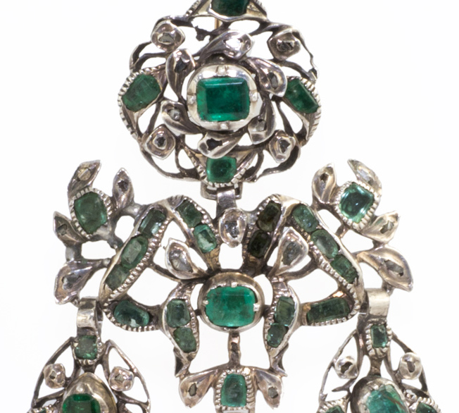 Iberian Emerald and Diamond Girandole Earrings