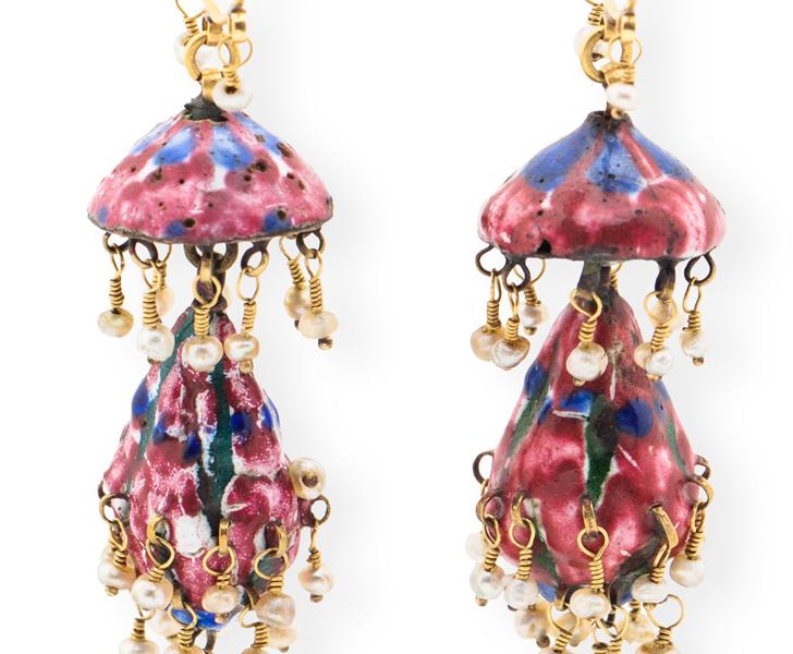 Emerald and Pearl Chandelier Earrings
