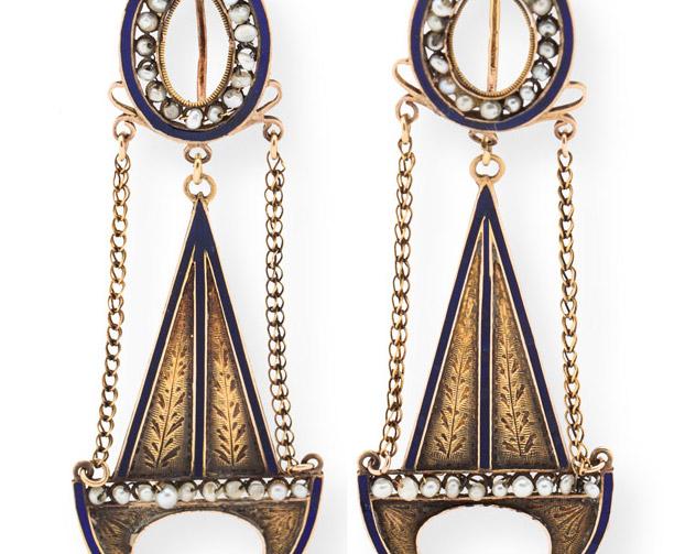 18th-Century Enamel Swag Earrings