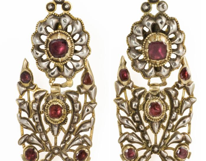 Gold and Garnet Iberian Pendeloque Earrings