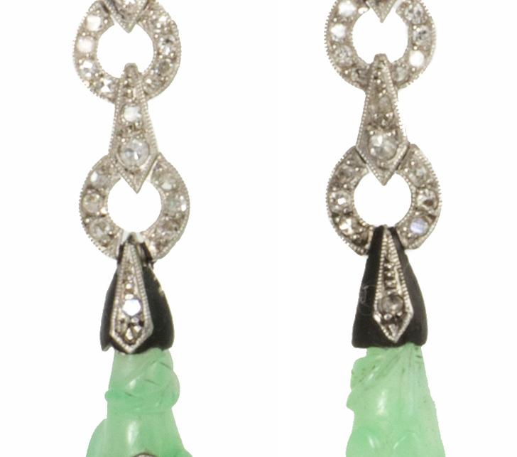 Jade and Diamond Pendant Earrings
