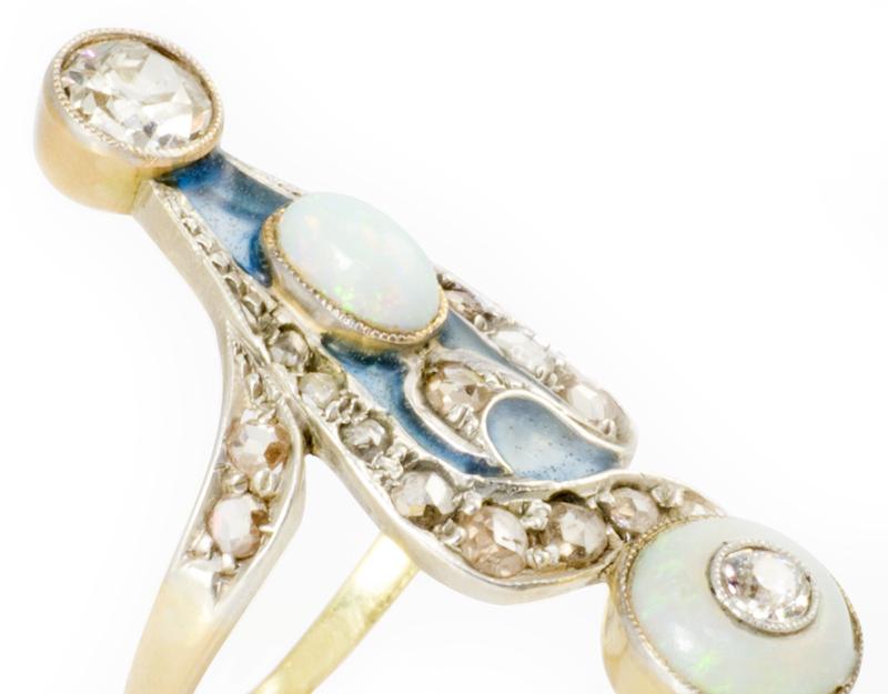 Opal and Diamond Plique-à-Jour Ring