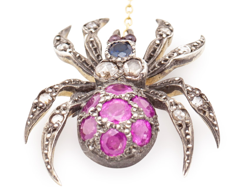 Gem-Set Spider and Fly Brooch