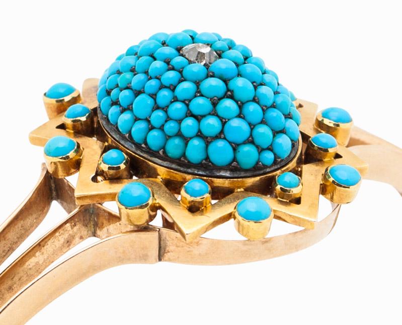 Persian Turquoise and Diamond Bangle